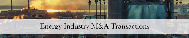 Energy Industry M&A Transactions Header